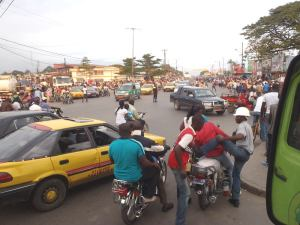 A traffic circle in Douala