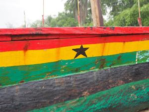 Many flags jaunty on the boats, but the Black Star still the most popular