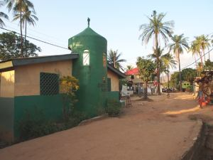 Our morning walk: down past the mosque...
