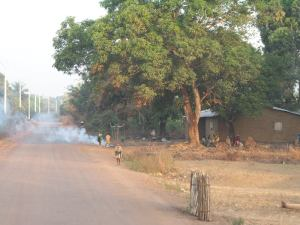 A common sight - plastic waste burning by the side of the road
