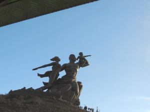 Whizzing past the African Renaissance Monument...
