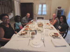 Dinner with the Ambassador's wife Felicity and daughter Zanele