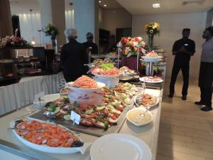 This is the seafood buffet Radisson guests can enjoy on a Sunday for 30000FCA (R600)