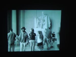 to Malawian Samson Kambalu filming himself walking backwards through the Lincoln Memorial then playing it hilariously forwards...