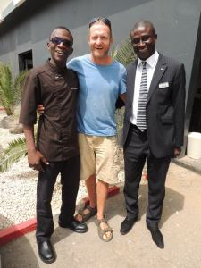 Chief Steward Ndao with Sampson and HR Manager Diallo at Radisson Blu