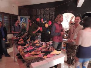 That night they were hosting a pop up shop: there was everything from hats and boots...