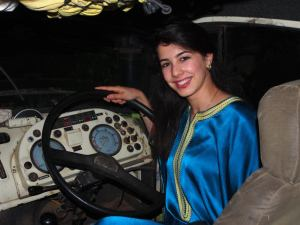 Moroccan team member Imane taking the wheel