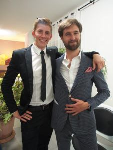Nicolas Augureau and Charles, the sharp-suited duo